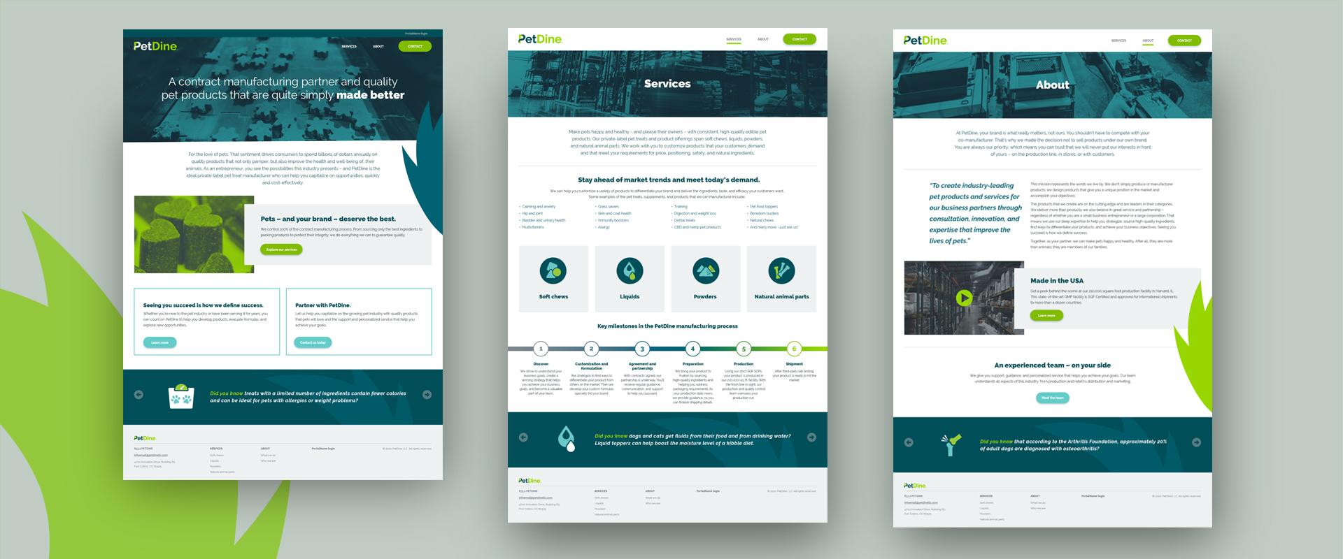 PetDine web page design